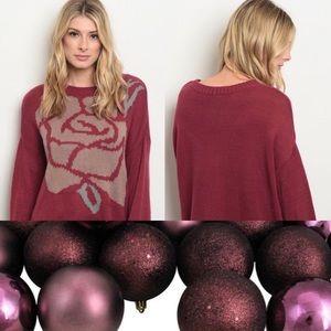 Sweaters - Berry Mauve Rose Sweater